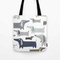 daschund Tote Bags featuring Weiner Dog Pattern by Taylor Engelsman