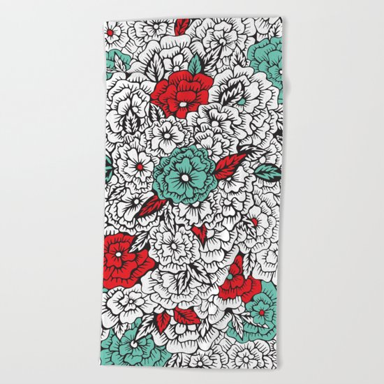 retro flowers Beach Towel