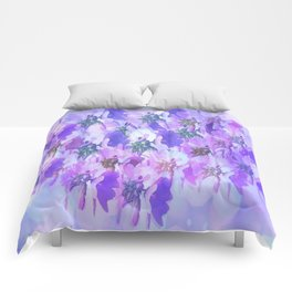 Painterly Glowing Floral Abstract Comforters
