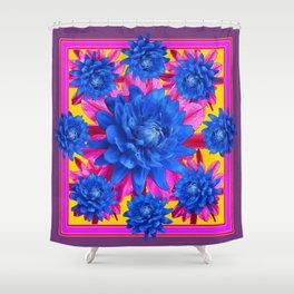 Decorative Puce Fuchsia Color Blue Tropical Flowers Pattern Shower Curtain