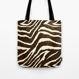 ANIMAL PRINT ZEBRA IN WINTER 2 BROWN AND BEIGE Tote Bag