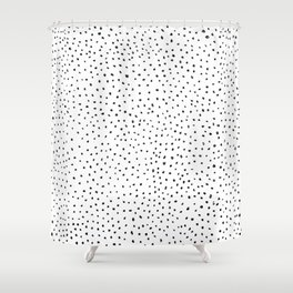 Dotted White & Black Shower Curtain