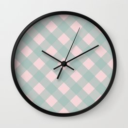 Pink & Mint Checkered Pattern-Mix and Match with Simplicity of Life  on #Society6 Wall Clock