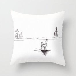 Lonely fish boat Throw Pillow