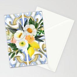 Amalfi Coast - Mediterranean Style Blue White Tiles with Flowers Lemons Stationery Cards