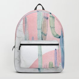 Desert Cactus Marble Sun Rose Gold Turquoise by Nature Magick Backpack