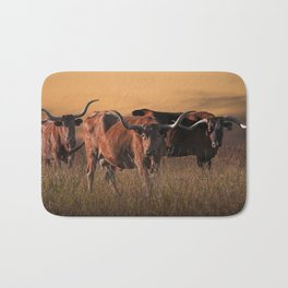 Texas Longhorn Steers on the Prairie at Sunset Bath Mat