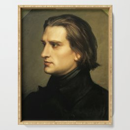 Franz Liszt (1811-1886) at 29. Painting by Charles Laurent Marechal (1801-1887). Serving Tray
