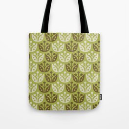 Mid Century Modern Flower Pattern Chartreuse and Brown 112 Tote Bag