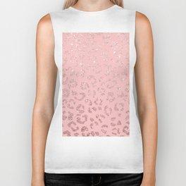 Modern faux rose gold glitter leopard ombre pink pattern Biker Tank