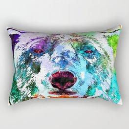 Polar Bear Watercolor Grunge Rectangular Pillow