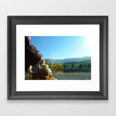 Gnome enjoying the vineyards of Napa Valley Framed Art Print