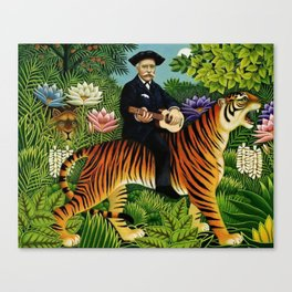 Henri Rousseau Dreaming of Tigers tropical big cat jungle scene by Henri Rousseau Canvas Print