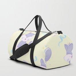 Happy Birthday Purple Fox on Yellow Background Pattern Duffle Bag