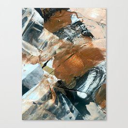 Chocolate Kisses [2]: A bold, minimal, abstract piece in pink, gold, brown, black and white Canvas Print