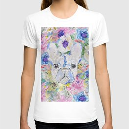 Abstract French bulldog floral watercolor paint T-shirt
