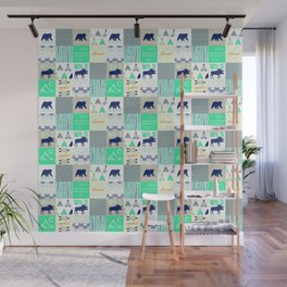 Woodland Cabin Decor Cheater Quilt Navy Aqua Grey Wall Mural