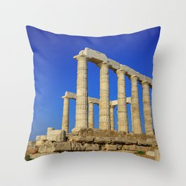Temple of Poseidon in Sounion near Athens (Greece) Throw Pillow