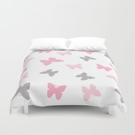 Pink and Grey Gray Butterflies Duvet Cover