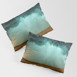 Open the Heavens - Panoramic Storm with Teal Hue in Northern Oklahoma Pillow Sham