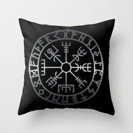 Vegvísir (Icelandic 'sign post') Symbol - REEL STEEL Throw Pillow