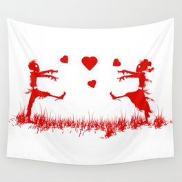 Zombies in Love Red Wall Tapestry