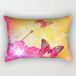 Awesome colorful flowers and butterfly Rectangular Pillow