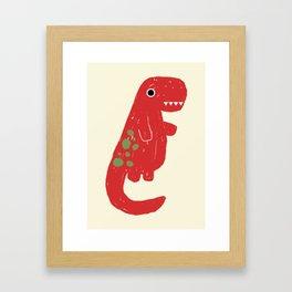Cute Red T-rex Dinosaur Framed Art Print