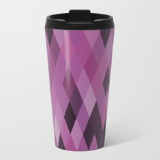 Muted Berry Color Harlequin Pattern Metal Travel Mug