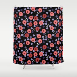 Salmon On A Black Background . Shower Curtain