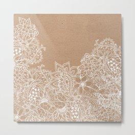 Modern white hand drawn floral illustration on rustic beige faux kraft color block Metal Print