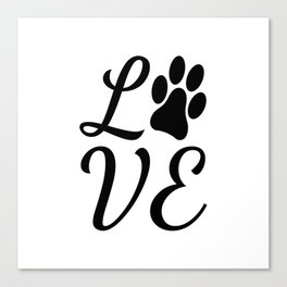 LOVE with a Paw Print replacing the O Canvas Print
