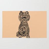 pomeranian Area & Throw Rugs featuring Polynesian Pomeranian by Huebucket