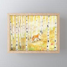 Fox in Birch Forest  Framed Mini Art Print