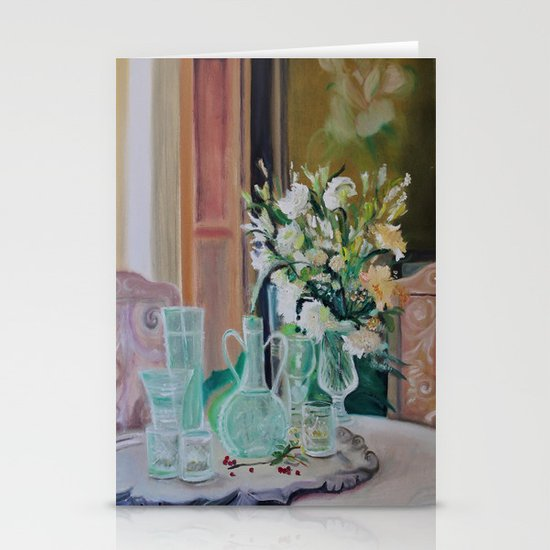 Bunch of white flowers Stationery Cards