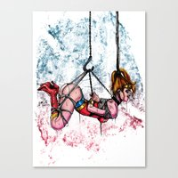 bondage Canvas Prints featuring Bondage Wonderowman by lucille umali