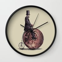 ariana grande Wall Clocks featuring Penny Farthing  by Eric Fan