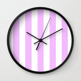 Electric lavender pink - solid color - white vertical lines pattern Wall Clock