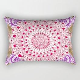 Red, Brown, and Purple Mandala Pattern Rectangular Pillow