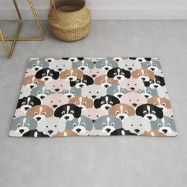 Cute Black Brown Pink Grey Puppy Dogs Illustration  Rug