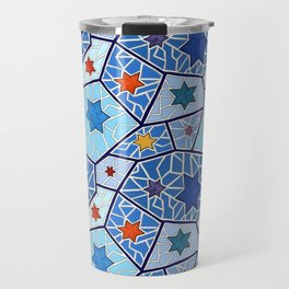 Hanukkah Stars of David in Dark Blues Travel Mug