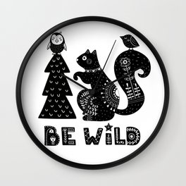 Be Wild Cute Owl And Squirrel In Scandinavian Style Wall Clock