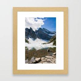 Lake Agnes, Banff, Canada with snow Framed Art Print