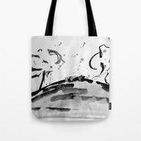 running Tote Bags featuring Running by Som Somni