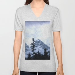 Mystic Three Sisters Mountains - Canadian Rockies Unisex V-Neck