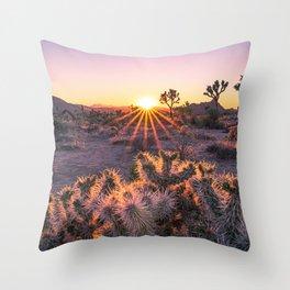 Joshua Tree National Park Cholla Cactus Sunset Sun flare (warm tones) Throw Pillow