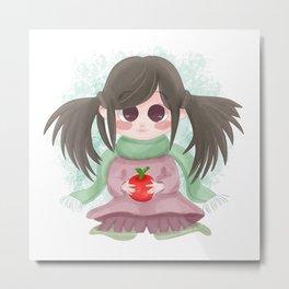 Cute Girl 02 Green Metal Print