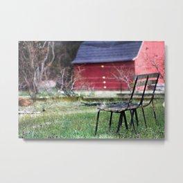 Bench in a Garden Metal Print