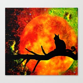 BLACK CAT HARVEST MOON 2018 Canvas Print