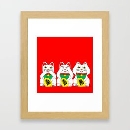 Three Wise Lucky Cats on Red Framed Art Print